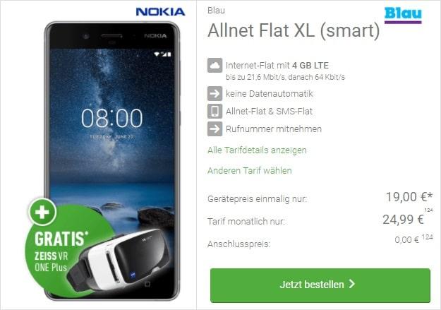 Nokia 8 + Blau Allnet Flat XL bei DeinHandy