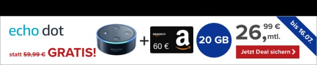 o2 Free M + Amazon Echo Dot (2. Gen.) + 60 € Amazon-Gutschein bei Tarifhaus24