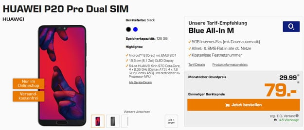 Huawei P20 Pro Dual-SIM mit o2 Blue-All-In M