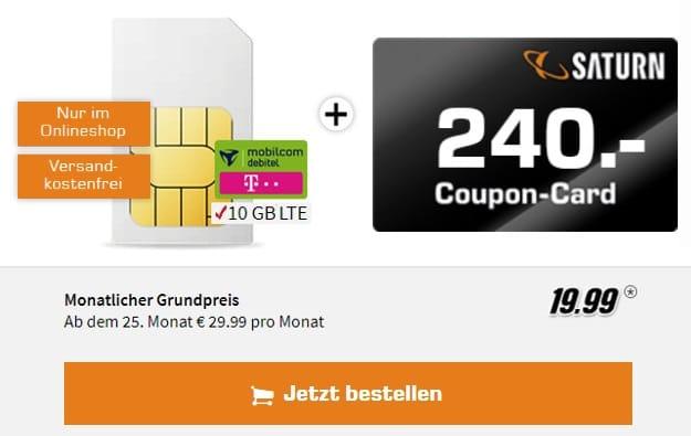 mobilcom-debitel Internet-Flat 10.000 (Telekom) + 240 € Gutschein bei Saturn