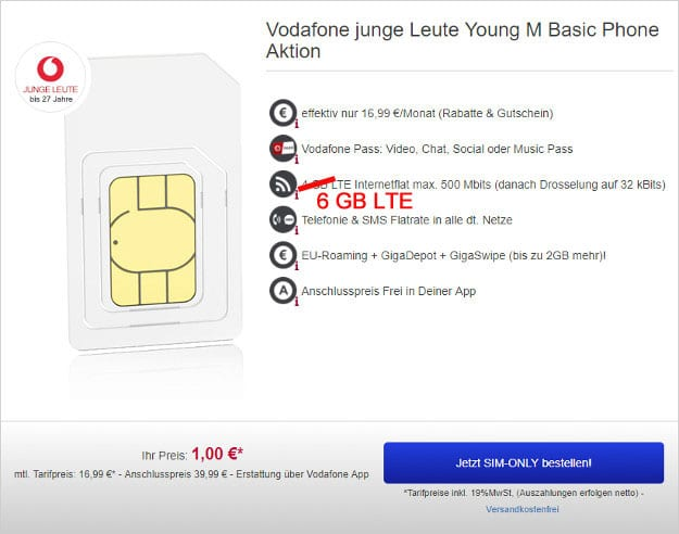 Vodafone Young M SIM-only