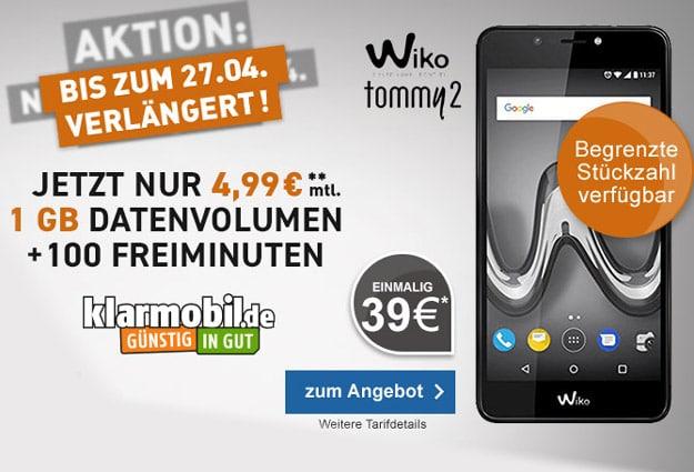 Wiko Tommy 2 + klarmobil Smartphone Flat 1000 im Telekom-Netz