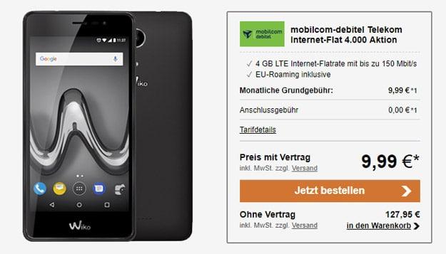 Klasse: 4 GB LTE Internet-Flat ab eff. 6,45 € im Monat (mobilcom-debitel Internet-Flat 4.000 im Telekom-Netz) + Wiko Tommy 2!