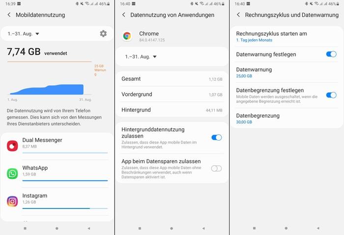 Datenvolumen abfragen für Android