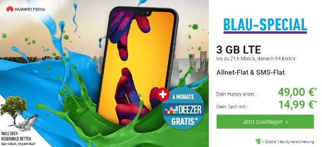Huawei P20 Lite + Blau Allnet L bei DeinHandy