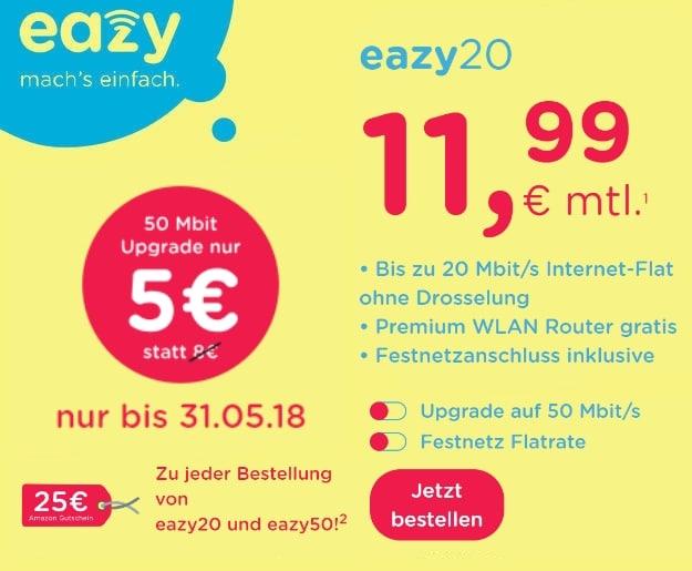 unitymedia eazy Kabel-Flat ab 11,99 € mtl. (Internet-Flat mit bis zu 50 Mbit/s) + gratis Router & 25 € Amazon-Gutschein