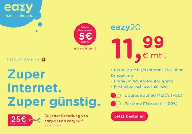 eazy Aktion mit 25 € Amazon Gutschein geht in die Verlängerung