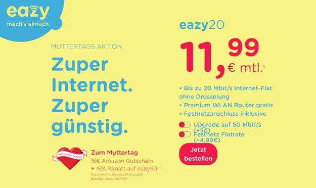 unitymedia eazy Kabel-Flat ab 11,99 € mtl. (Internet-Flat mit bis zu 50 Mbit/s) + gratis Router & 15 € Amazon-Gutschein