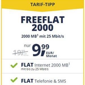 freeFLAT ab 9,99 € mtl. (Allnet-Flat, SMS-Flat, bis 4 GB, Vodafone-Netz) - auch mtl. kündbar - 25 € Wechsel-Bonus