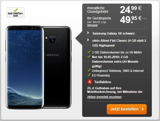 Samsung Galaxy S8 + otelo Allnet-Flat Classic Speed bei Handyflash