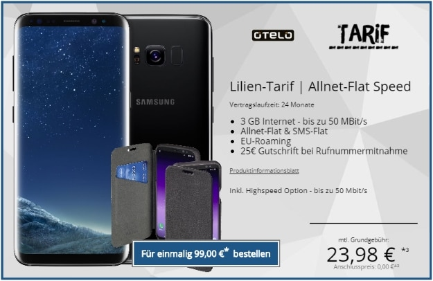 Samsung Galaxy S8 + Hama Booklet Ricardo Plus + otelo Lilien-Tarif Speed bei Tophandy