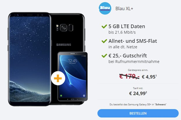 samsung galaxy s8 plus tablet blau allnet xl mit 78. Black Bedroom Furniture Sets. Home Design Ideas