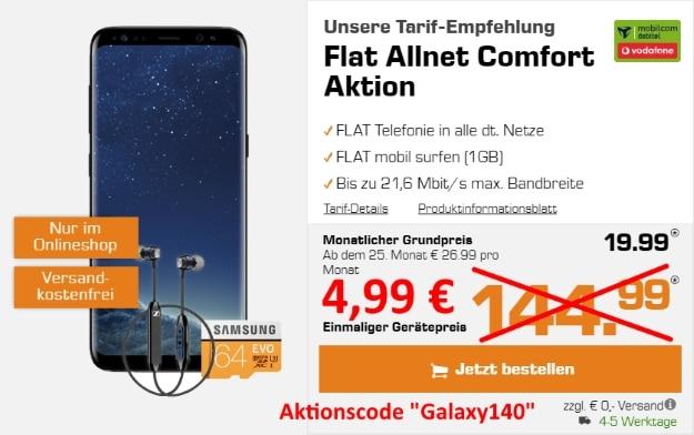 Samsung Galaxy S8 + Sennheiser CX 6.00 BT + Samsung EVO 64GB microSD + Vodafone Flat Allnet Comfort (md) bei MediaMarkt