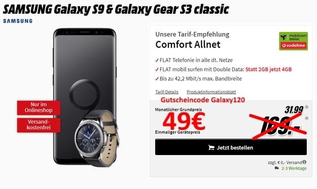 Samsung Galaxy S9 + Samsung Gear S3 Classic + mobilcom-debitel Vodafone Comfort Allnet bei MediaMarkt