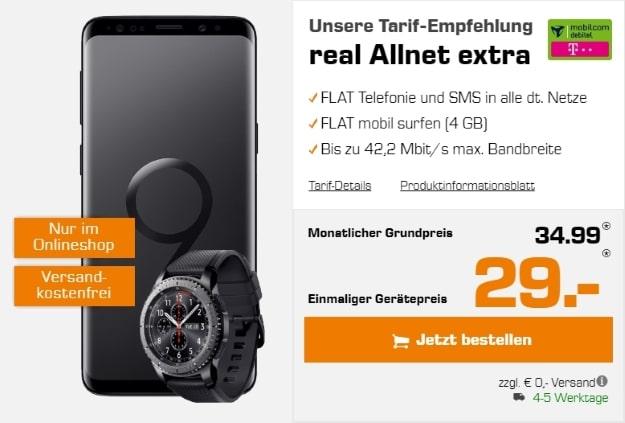 Samsung Galaxy S9 + Samsung Gear S3 Frontier + mobilcom-debitel real Allnet (Telekom-Netz) bei Saturn