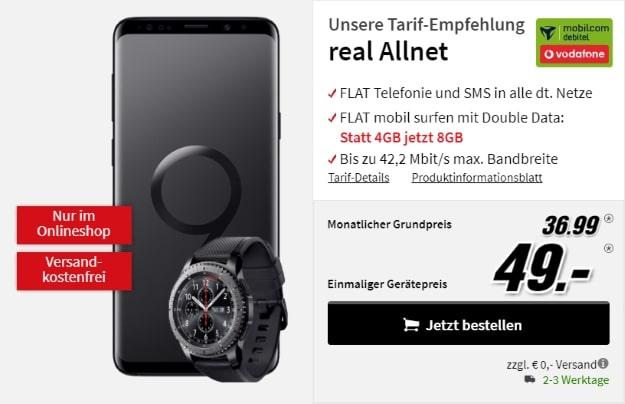 Samsung Galaxy S9 + Samsung Gear S3 + Vodafone Comfort Allnet bei MediaMarkt