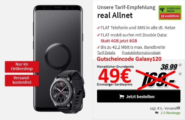 Samsung Galaxy S9 Plus + Samsung Gear S3 Frontier + Vodafone real Allnet bei MediaMarkt