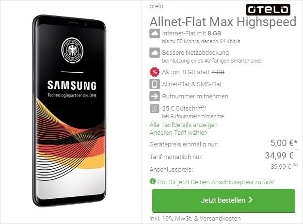Samsung Galaxy S9 Plus + otelo Allnet-Flat Max Speed bei DeinHandy