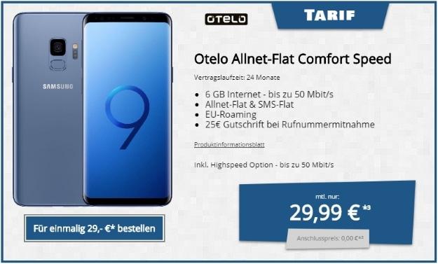 Samsung Galaxy S9 DUOS + otelo Allnet-Flat Comfort Speed bei Tophandy