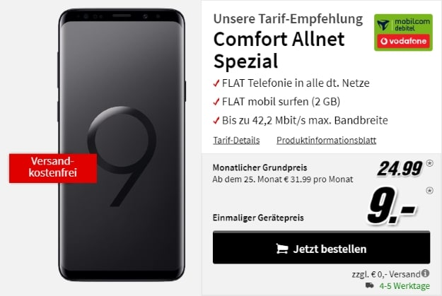 Samsung Galaxy S9 Plus + Vodafone Comfort Allnet (mobilcom-debitel) bei MediaMarkt