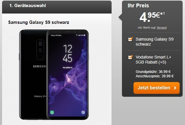 Samsung Galaxy S9 + Vodafone Smart L Plus bei Handyflash