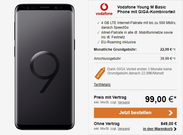 Samsung Galaxy S9 + Vodafone Young M GigaKombi bei LogiTel