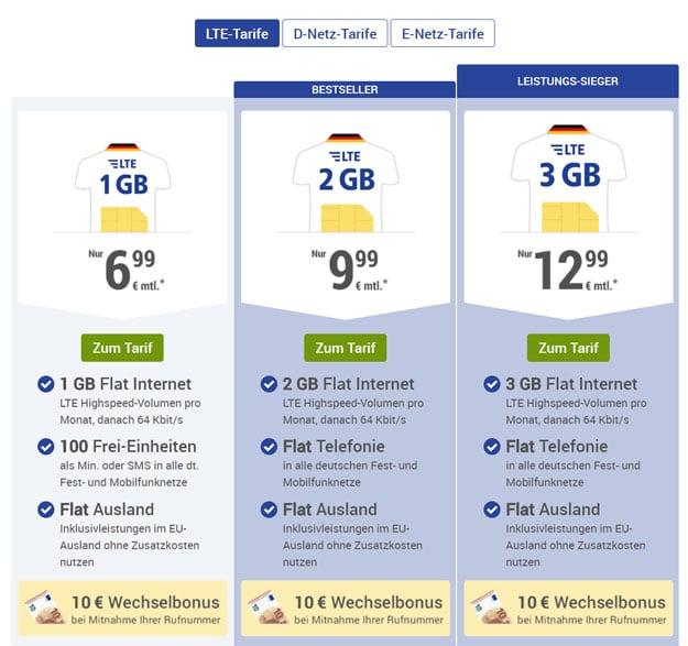 Bis 30 € Startbonus! 1&1 GMX.de All-Net ab 6,99 € mtl. (Allnet-Flat / 100 Einheiten, bis 3 GB LTE, o2-Netz od. Vodafone-Netz)