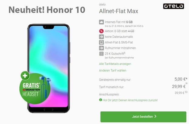 Honor 10 mit otelo Allnet-Flat Max im Vodafone-Netz günstig bestellen