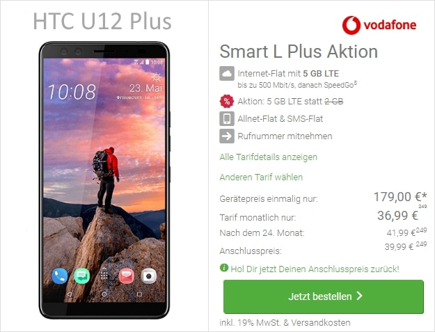 HTC U12 Plus + Vodafone Smart L bei DeinHandy