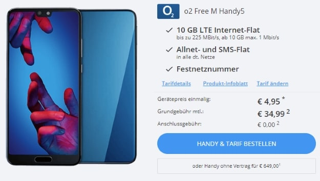 Huawei P20 + o2 Free M bei Sparhandy