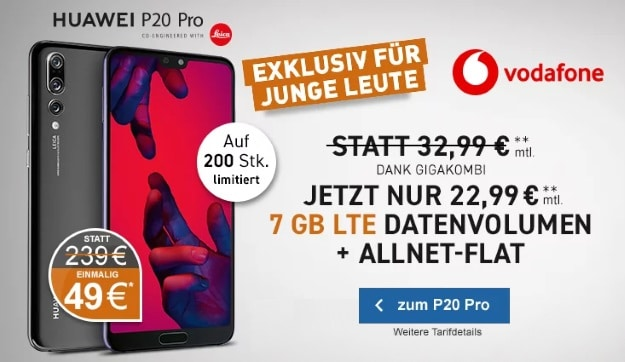 Huawei P20 Pro + Vodafone Young M oder Young M GigaKombi bei LogiTel