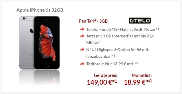 Apple iPhone 6s + otelo Fan-Tarif bei Preisboerse24