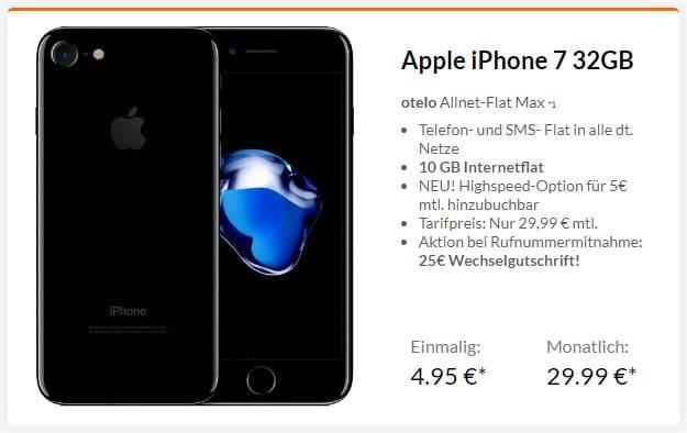Apple iPhone 7 + otelo Allnet-Flat Max bei Preisboerse24