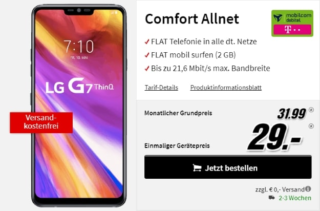 LG G7 ThinQ + mobilccom-debitel Comfort Allnet (Telekom-Netz) bei MediaMarkt