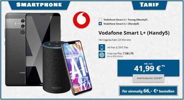 Huawei Mate 10 Pro + Huawei Mate 20 Lite + Amazon Echo (2. Gen.) + Vodafone Smart L Plus (Young) bei Tophandy