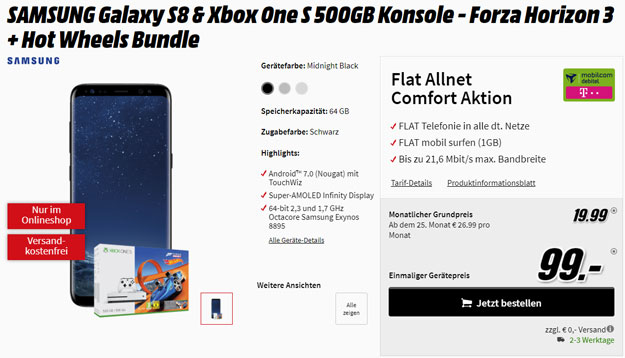 Galaxy S8 + Flat Allnet Comfort Telekom (md) eff. kostenlos (Allnet-Flat, 1 GB, Hotspot-Flat) + Xbox-Bundle & mehr!