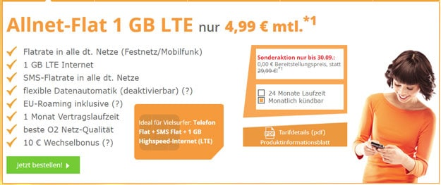 Top! SimDiscount LTE Tarife ab 4,99 € Grundgebühr (Allnet-Flat, bis 10 GB LTE, o2) SIM only - auch mtl. kündbar