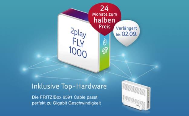 Gigabit Speed! Unitymedia 2play Fly 1000 für 49,99 € mtl. Grundgebühr (bis zu 1 GBit/s!) + FRITZ!Box 6591 Cable