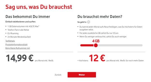 Vodafone IN - Datenvolumen nachbuchen, Handytarif mit flexiblem Datenvolumen