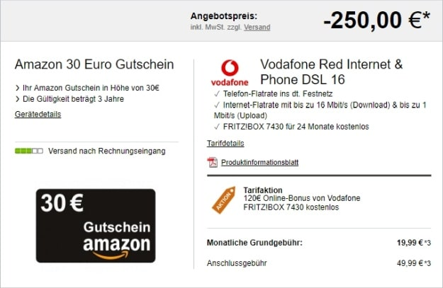 Vodafone Red Internet & Phone + Amazon-Gutschein bei LogiTel