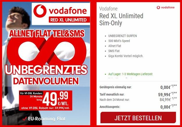 Vodafone Red XL Unlimited für 79,99 € pro Monat (Allnet- & SMS-Flat, unbegrenztes LTE-Datenvolumen)