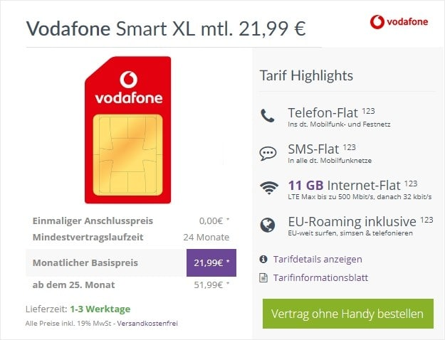 Vodafone Smart XL (SIM-only) bei FLYmobile