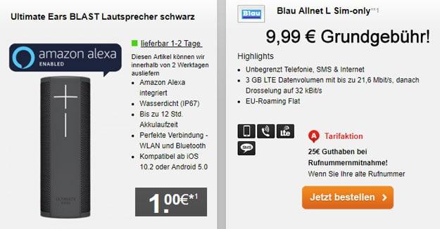 Top! Blau Allnet L ab eff. 5,45 € mtl. (Allnet-Flat, SMS-Flat, 3 GB LTE, o2-Netz) + gratis Bluetooth-Lautsprecher