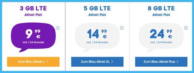 Blau Allnet Tarife im Vergleich: Blau Allnet L, XL und Plus - Angebote für diverse Nutzertypen