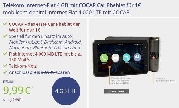 COCAR Auto Phablet mit mobilcom-debitel Internet Flat 4.000 im Telekom-Netz