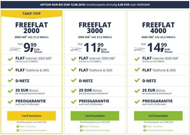 freeFlat ohne Anschlussgebühr - Allnet-Flat günstig bestellen