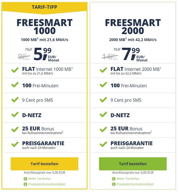 freeSMART 1000 und 2000 günstig bestellen ohne Anschlussgebühr