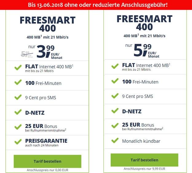 freeSmart 400 im Telekom-Netz ohne Anschlussgebühr