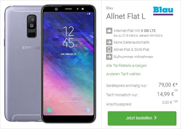 Samsung Galaxy A6 + Blau Allnet Flat L bei DeinHandy
