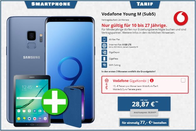 Samsung Galaxy S8 + HAMA Bookcover Ricardo Plus + Samsung Galaxy Tab S2 9.7 WiFi + Vodafone Young M bei Tophandy